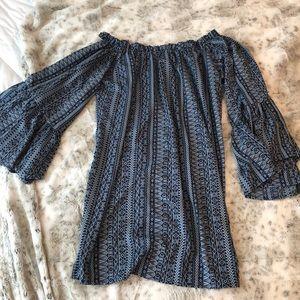 Elan Printed Halter Off Shoulder Dress